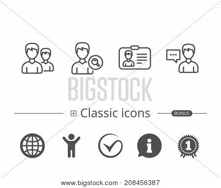Group Of Users, Search And Id Card Icons.