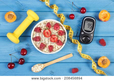 Glucose Meter For Checking Sugar Level, Oatmeal With Fruits, Centimeter And Dumbbells, Diabetes And