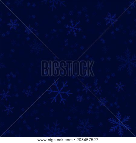 Transparent Snowflakes Seamless Pattern On Dark Blue Christmas Background. Chaotic Scattered Transpa