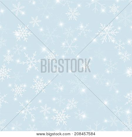 Magic Snowflakes Seamless Pattern On Light Blue Christmas Background. Chaotic Scattered Magic Snowfl