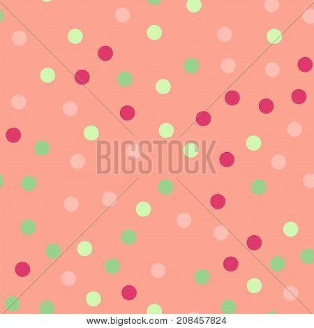 Colorful Polka Dots Seamless Pattern On Bright 20 Background. Charming Classic Colorful Polka Dots T