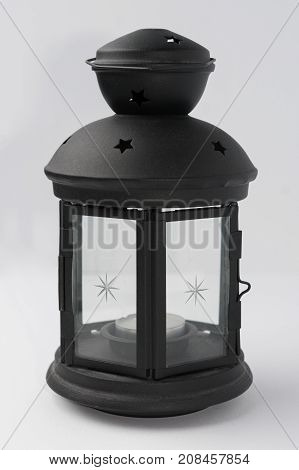 Black Metal Candle Lantern on White Background Front View
