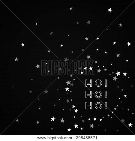 Ho-ho-ho Greeting Card. Random Falling Stars Background. Random Falling Stars On Black Background. A