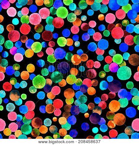 Watercolor Confetti Seamless Pattern. Hand Painted Classy Circles. Watercolor Confetti Circles. Gree