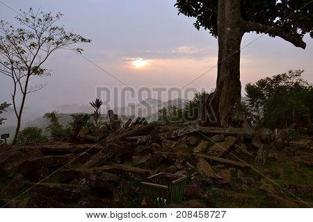 Sunrise At The Megalithic Site In West Java, Indonesia. It Has Thousands Of Ancient Stones
