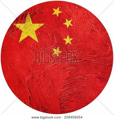 Grunge China Flag. Chines Button Flag Isolated On White Background