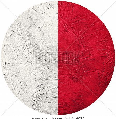 Grunge Malta Flag. Malta Button Flag Isolated On White Background