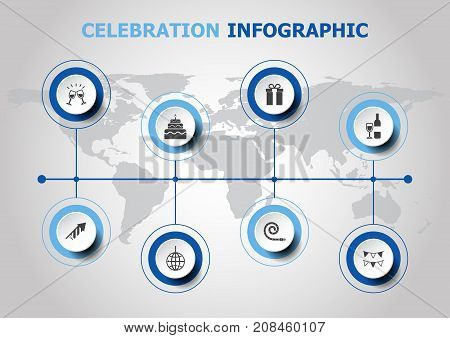 Infographic design with celebration icons, stock vector
