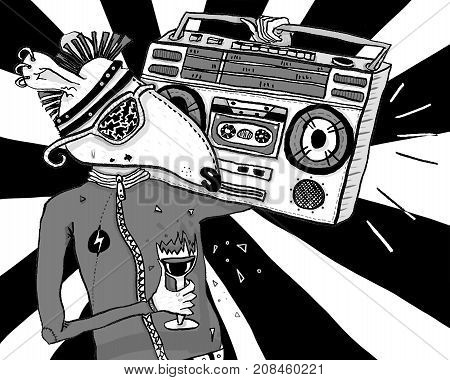 Figure rat punk with musik recorder with black and white