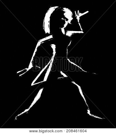 black and white illustration of a singing young woman in black background