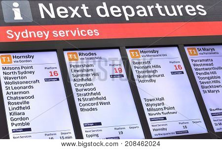 Sydney Australia. - On August 12 2017. - Central Railway Station at the transport information center which is showing departures timetable on the screen.