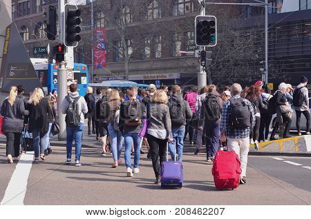 SYDNEY AUSTRALIA - AUGUST 14 2017: Traffics on George Street and Lee Street in front of Central Railway Station in Sydney Australia