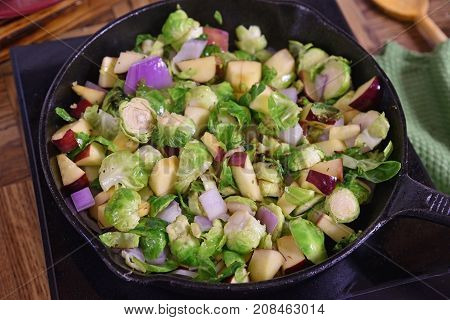 Brussels Sprouts Simmering In A Skillet
