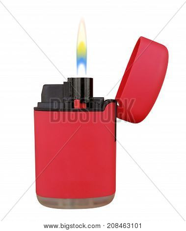 Red plastic gas lighter with flame isolated on white with Clipping path