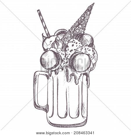 vector sketch of milkshake drawing by blue pencil, hand drawn illustration