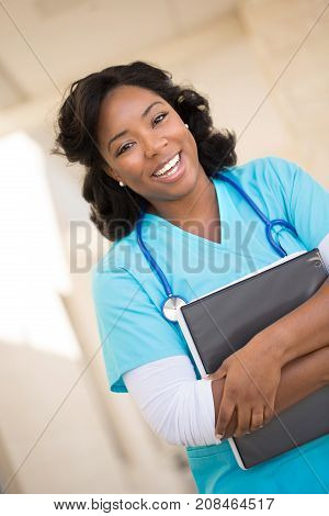 Healthcare worker. Doctor or nurse at the hospital.