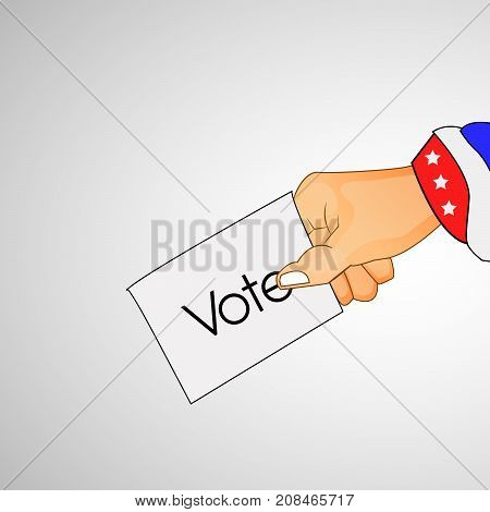 illustration of hand holding vote on the occasion of election day