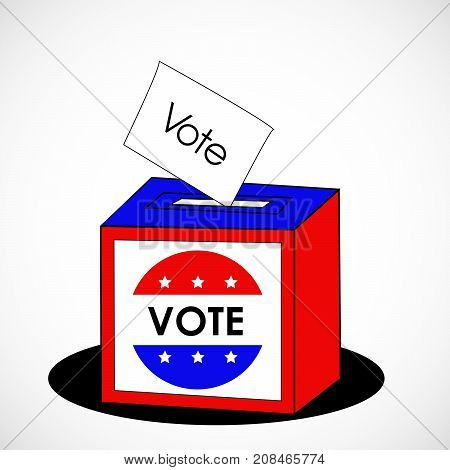 illustration of ballot in USA flag background with vote text on the occasion of election day