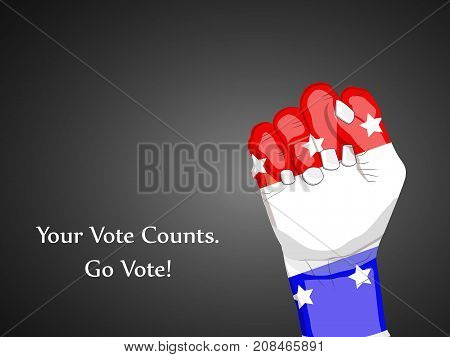 illustration of hand in USA flag background with your vote counts go vote text on the occasion of election day