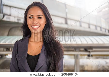 Portrait Of A Happy Successful Mature Asian Business Woman Street Outdoor Business Sucessful Concept