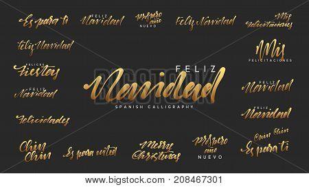 Spanish lettering Feliz Navidad, Felices Navidades, Mis felicitaciones. Merry Christmas and Happy New Year, golden text calligraphy
