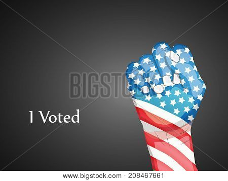 illustration of hand in USA flag background with I vote text on the occasion of election day
