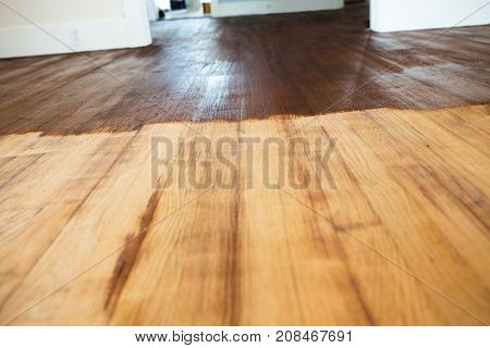 Interior of a home. Contractor refinish wood floors,