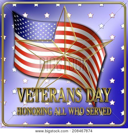 Veterans Day, Golden Star, 3D, Honoring all who served, American holiday template.