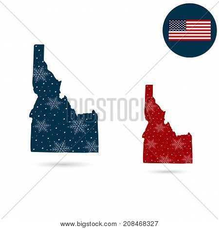 Map of the U.S. state of Idaho. Merry christmas and a happy new year