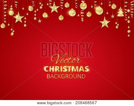 Holiday red background with sparkling Christmas glitter ornaments. Golden fiesta border. Festive garland with hanging balls and ribbons. Great for New year party posters, cards, headers.