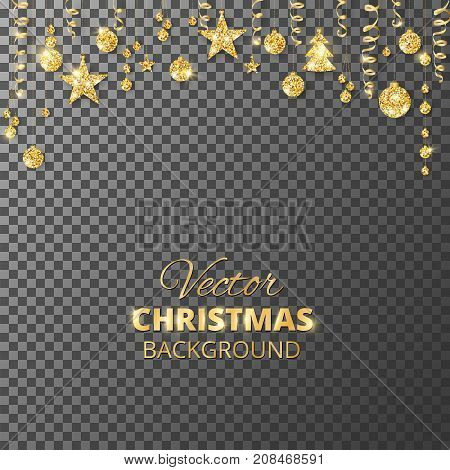 Sparkling Christmas glitter ornaments. Golden fiesta border. Festive garland with hanging balls and ribbons isolated on transparent background. Great for New year party posters, cards, headers.