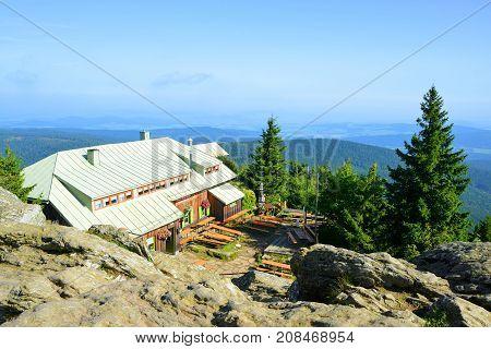 GROSSER OSSER,GERMANY - SEPTEMBER 05,2017: Mountain hut on the top of mount Grosser Osser in National park Bavarian forest, Germany.