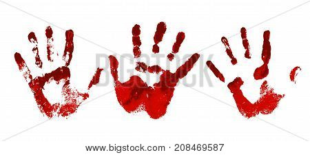 Hand in the red blood. Bloody handprint on white background