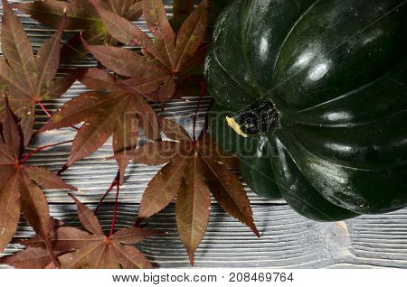 Acorn Squash And Red Fall Leafs On Gray Wooden Background.  Harvest Time Concept.