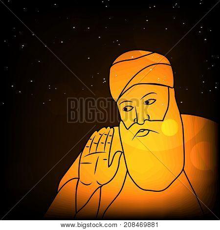 illustration of Sikh god Guru Nanak symbol with happy Guru Nanak Jayanti text on the occasion of Sikh Festival Guru Nanak Jayanti. Guru Nanak Jayanti, celebrates the birth of the first Sikh Guru, Guru Nanak.