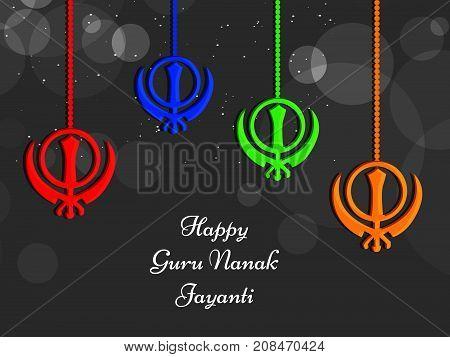 illustration of Sikhism symbols with happy Guru Nanak Jayanti text on the occasion of Sikh Festival Guru Nanak Jayanti. Guru Nanak Jayanti, celebrates the birth of the first Sikh Guru, Guru Nanak.