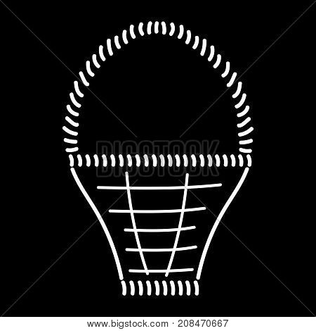 Empty basket sign. Image of handmade weave. White icon isolated on black background. Wicker basket symbol. Logo for rural. Drawn decoration content. Mark of pottle. Stock vector illustration