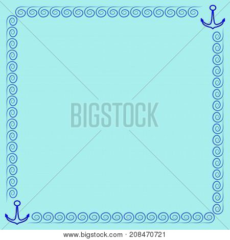 Frame blue. Border from waves and anchors. Decoration sea concept. Color framework isolated on light blue background. Decoration banner rim. Modern art scoreboard. Stock vector illustration
