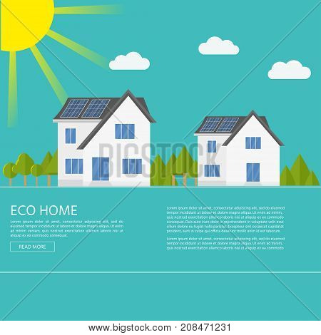 Clean Modern House With Solar Panels. Eco Friendly Alternative E