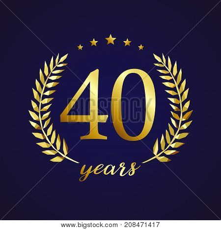 40 years old luxurious logotype. Congratulating 40th, 4th numbers in circle of palms, cup template. Isolated sign greetings symbol, celebrating traditional stained-glass decorative retro style ear.
