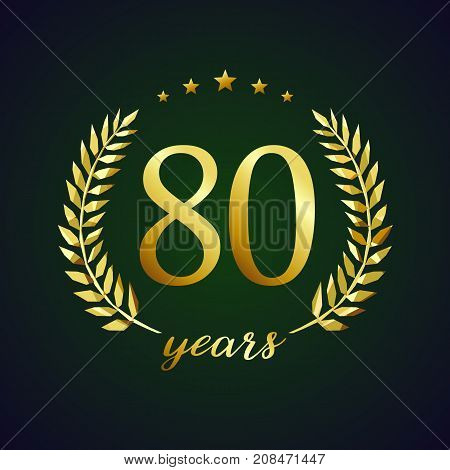80 years old luxurious logotype. Congratulating 80th, 8th numbers in circle of palms, cup template. Isolated sign greetings symbol, celebrating traditional stained-glass decorative retro style ear.