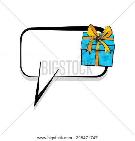 Сomics book dialog empty cloud cartoon pop-art. Creative idea conversation sketch. Gift box birthday picture blank template pop art style comic text speech bubble halftone dot background.