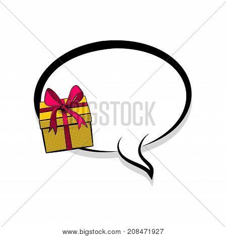 Gift box birthday picture blank template pop art style comic text speech bubble halftone dot background. Comics book dialog empty cloud cartoon pop-art. Creative idea conversation sketch