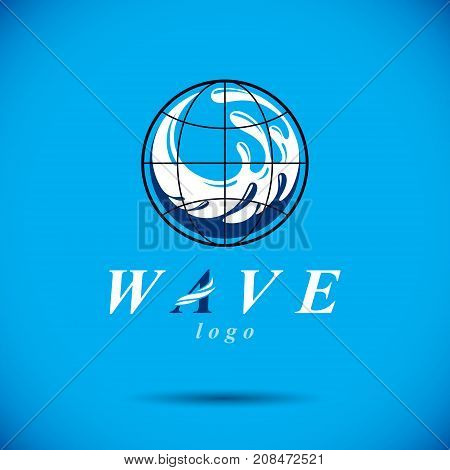 Vector blue clear water drop logo for use as marketing design symbol. Body cleansing concept.