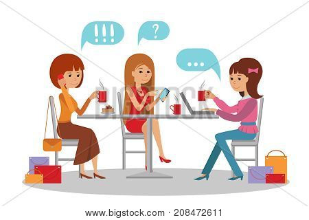 Three beautiful friends women with shopping packages talking friendly at coffee shop while drinking coffee, vector illustration of coffee break.
