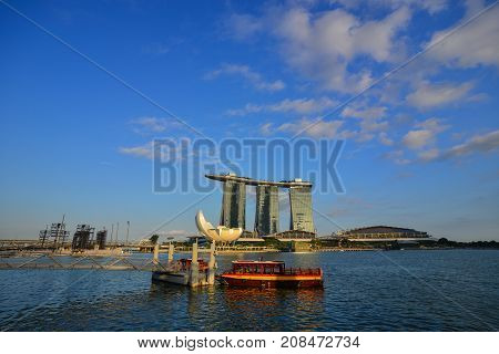 Cityscape Of Marina Bay In Singapore