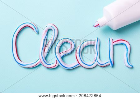 The word is clean from the toothpaste