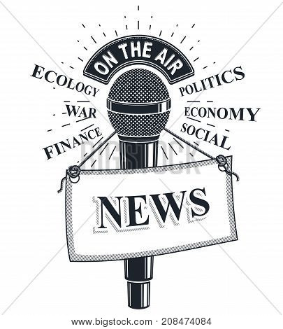 3d microphone vector illustration with news label. Broadcasting concept social economical political news reporting.