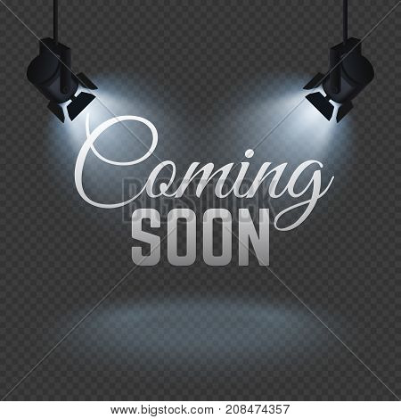 Coming soon concept with spotlights on stage isolated vector illustration