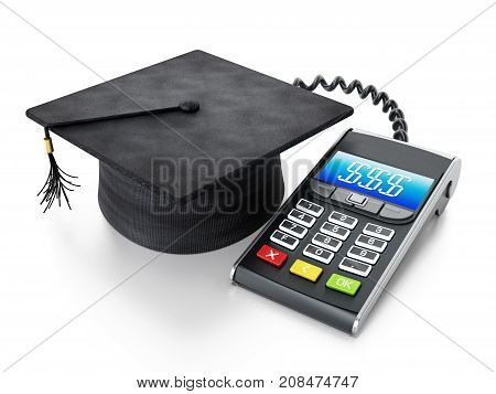 Education expenses concept with calculator connected to mortarboard. 3D illustration.